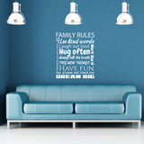Family Rules Wall Sticker - White