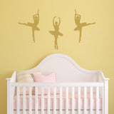 Set of 3 Ballet Dancer Wall Stickers - Gold