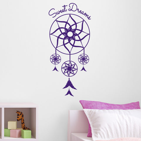 Sweet Dreams Dream Catcher Wall Sticker - Purple