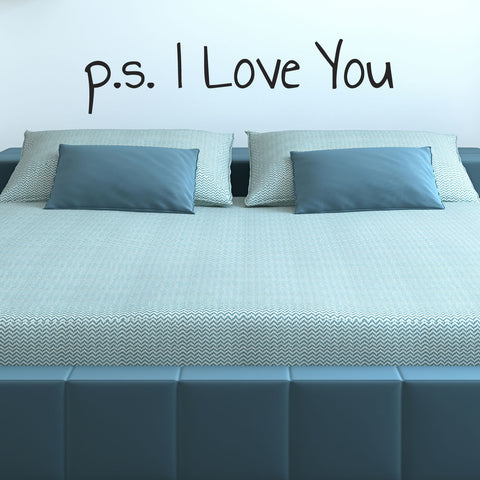 p s I Love You Wall Sticker - Handwriting Style - Black