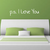 p s I Love You Wall Sticker - Handwriting Style - White