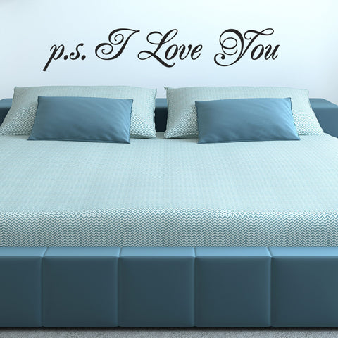 p s I Love You Wall Sticker - Script Style - Black