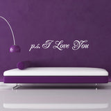p s I Love You Wall Sticker - Script Style - White