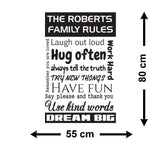 Personalised Family Rules Wall Sticker - Size Guide