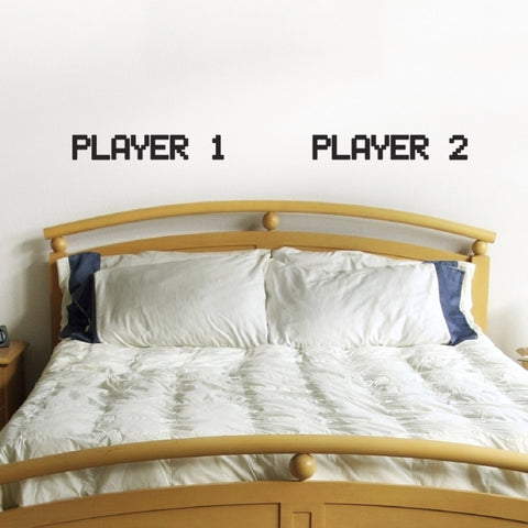Player 1 Player 2 - Gamer Couple Bedroom Wall Sticker - Black