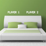 Player 1 Player 2 - Gamer Couple Bedroom Wall Sticker - White
