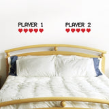 Retro Gamer Bedroom Wall Decal – Player 1 Player 2 With Hearts