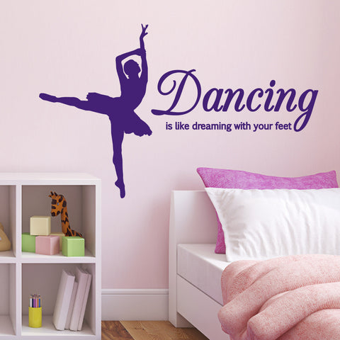 Dancing Is Like Dreaming With Your Feet - Extended Leg Dancer - Purple