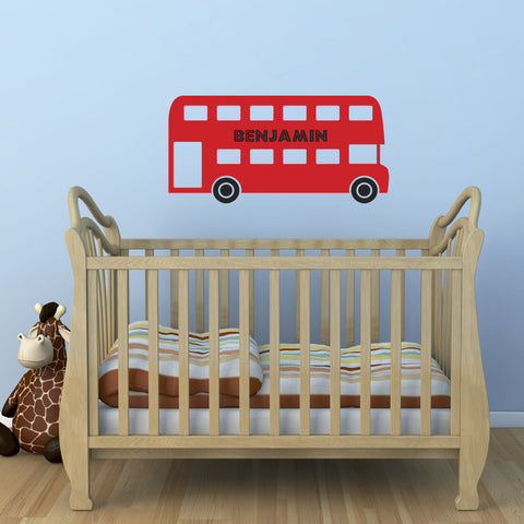 Personalised Red Bus Wall Sticker