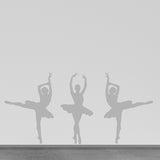 Set of 3 Ballet Dancer Wall Stickers - Silver