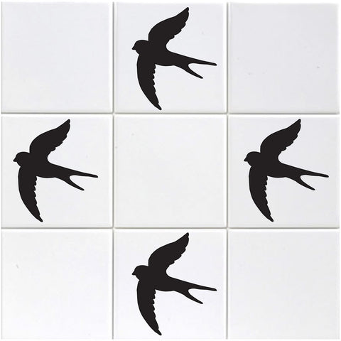 Swallow Tile Stickers - Black