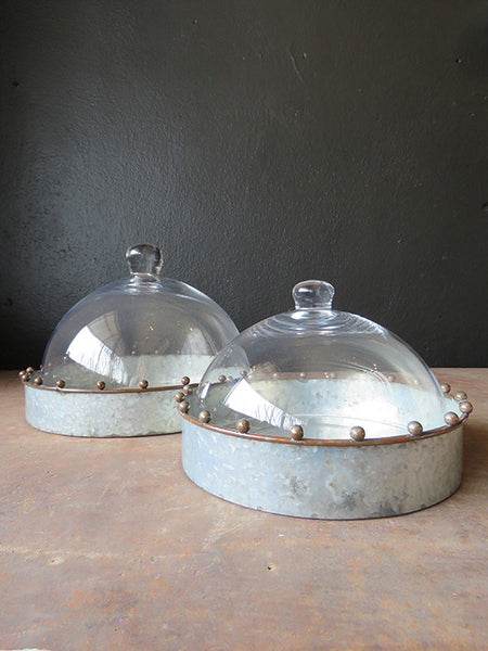 Glass Cloche with Galvanized Tray