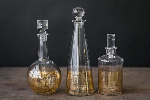 Crosshatch Decanter -Gold