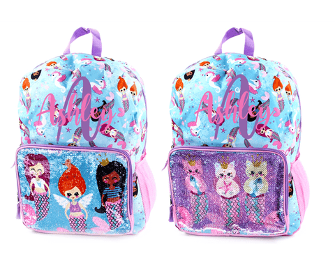 Personalized Mermaid Flip Sequin Backpack