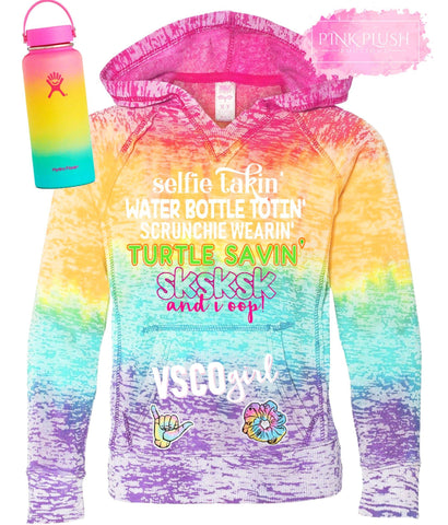 """VSCO GIRL"" Tye-Dye Hooded Sweatshirt - RUNS SMALL"