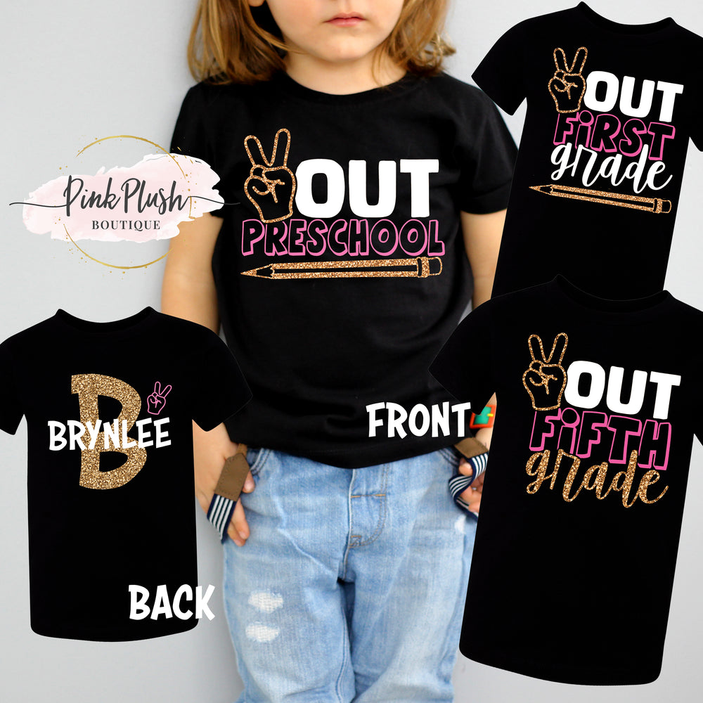 """Peace OUT!✌ "" Personalized T-shirt (KG - 5th Grade)"