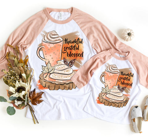 """FALL - Thankful. Grateful. Blessed."" Tshirt"