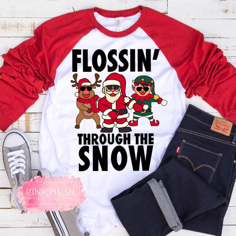 """Flossin' Through the Snow! "" Unisex Raglan"