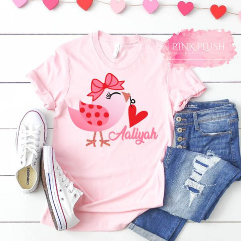 """Love Birdie"" Personalized T-Shirt - Pink"