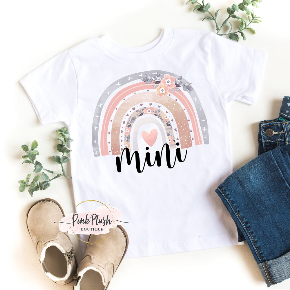 """MAMA + MINI"" Watercolor Rainbow Tshirt"