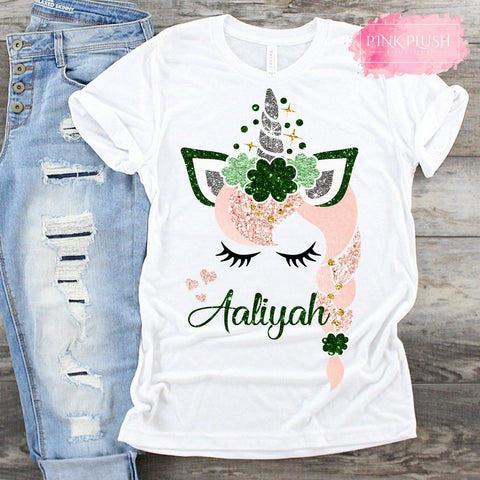 """Ava"" St. Patrick's Day Personalized Glitter T-shirt"