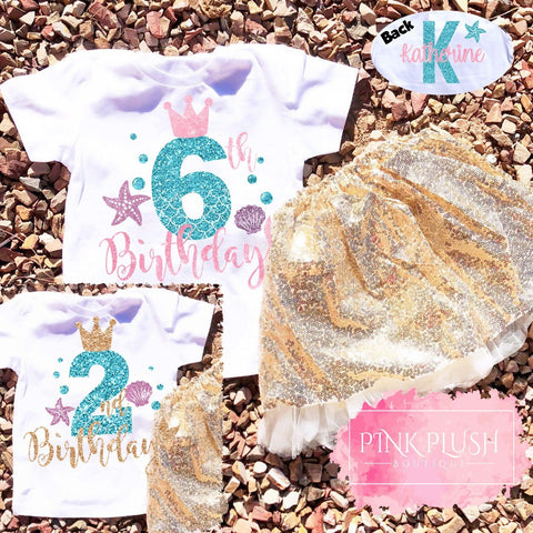 Personalized Birthday Mermaid Tshirt