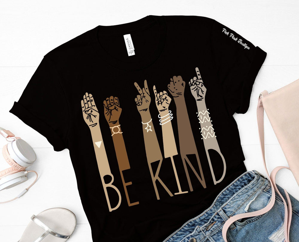 """Be kind"" Sign language Tshirt - Adult - Pink Plush Boutique"