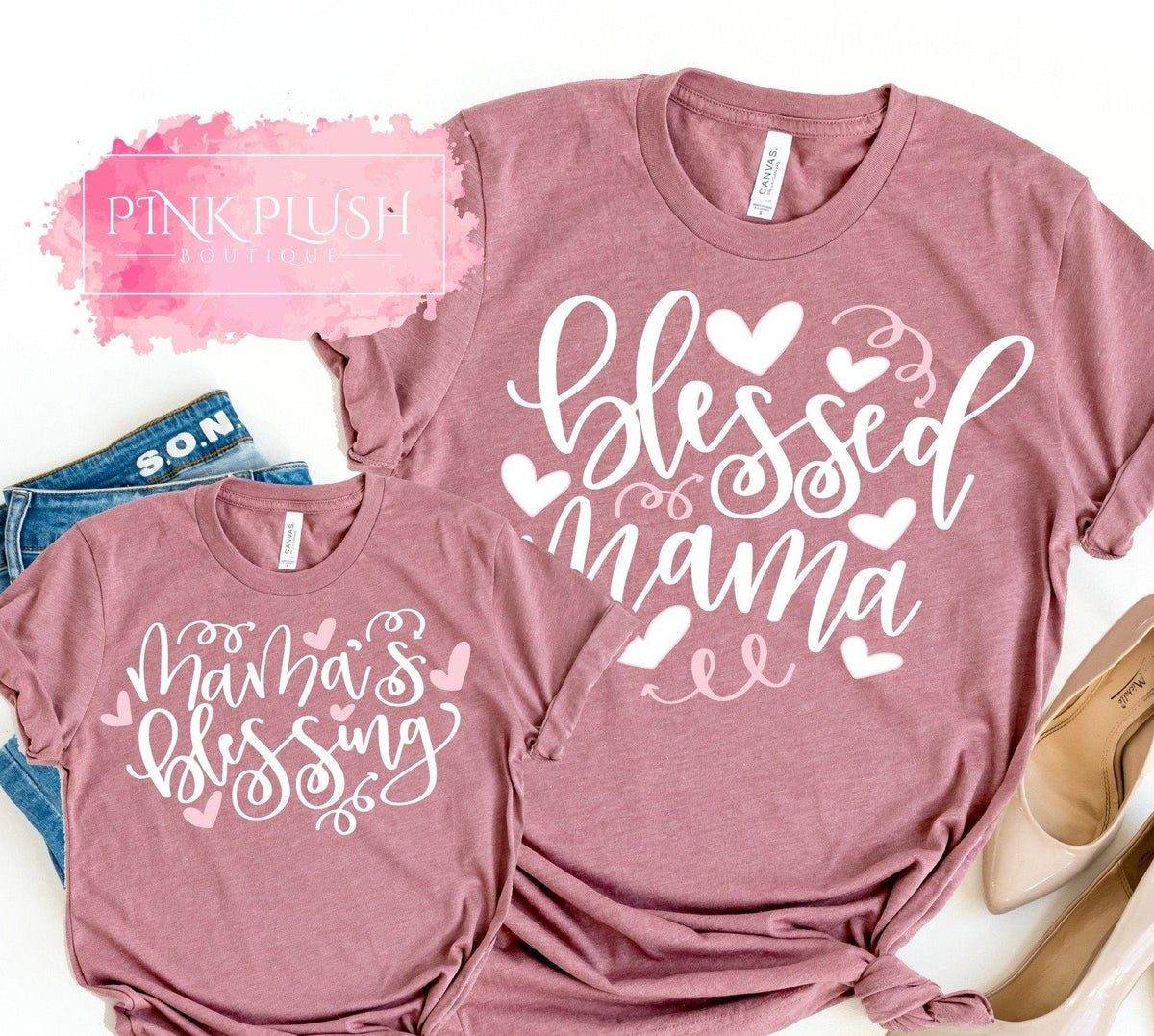 Little Blessing Matching Shirts Custom Blessed Mama