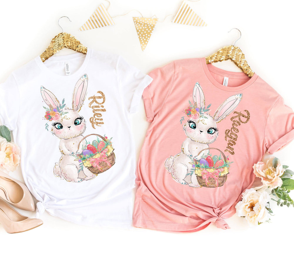 "Load image into Gallery viewer, ""Bonnie Bunny"" Personalized Sparkle Tshirt"