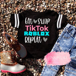 """Eat. Sleep. Repeat"" Football Jersey Tee - Pink Plush Boutique"