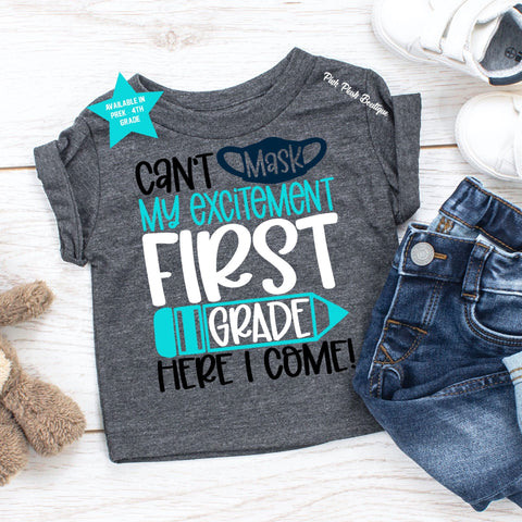 """Can't Mask My Excitement"" Back to School Tshirt  ( PreK-4th ) - BOYS"