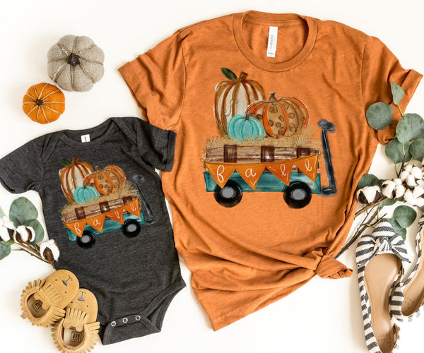 """Fall Leopard Pumpkin Wagon"" Tshirt - Fall - Autumn"