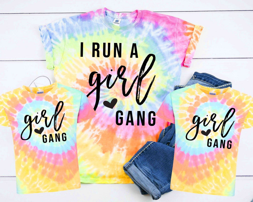 """Girl Gang"" Mother + Daughter Tye-Dye Tshirt - Pink Plush Boutique"