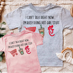 """I can't talk right now....I'm doing hot girl Stuff"" Tshirt - Pink Plush Boutique"