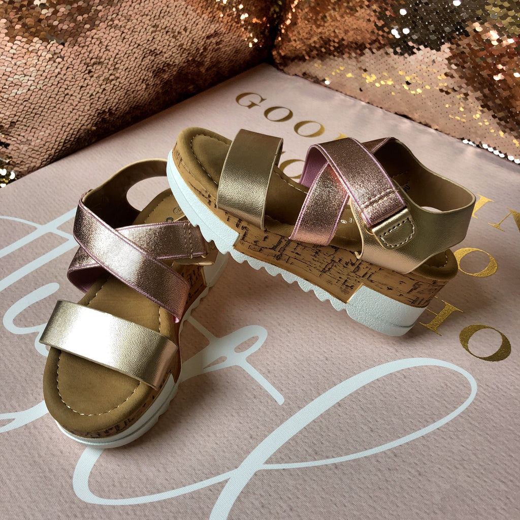 """Kelly"" Rose Gold / Gold Wedge Sandals - Kids"