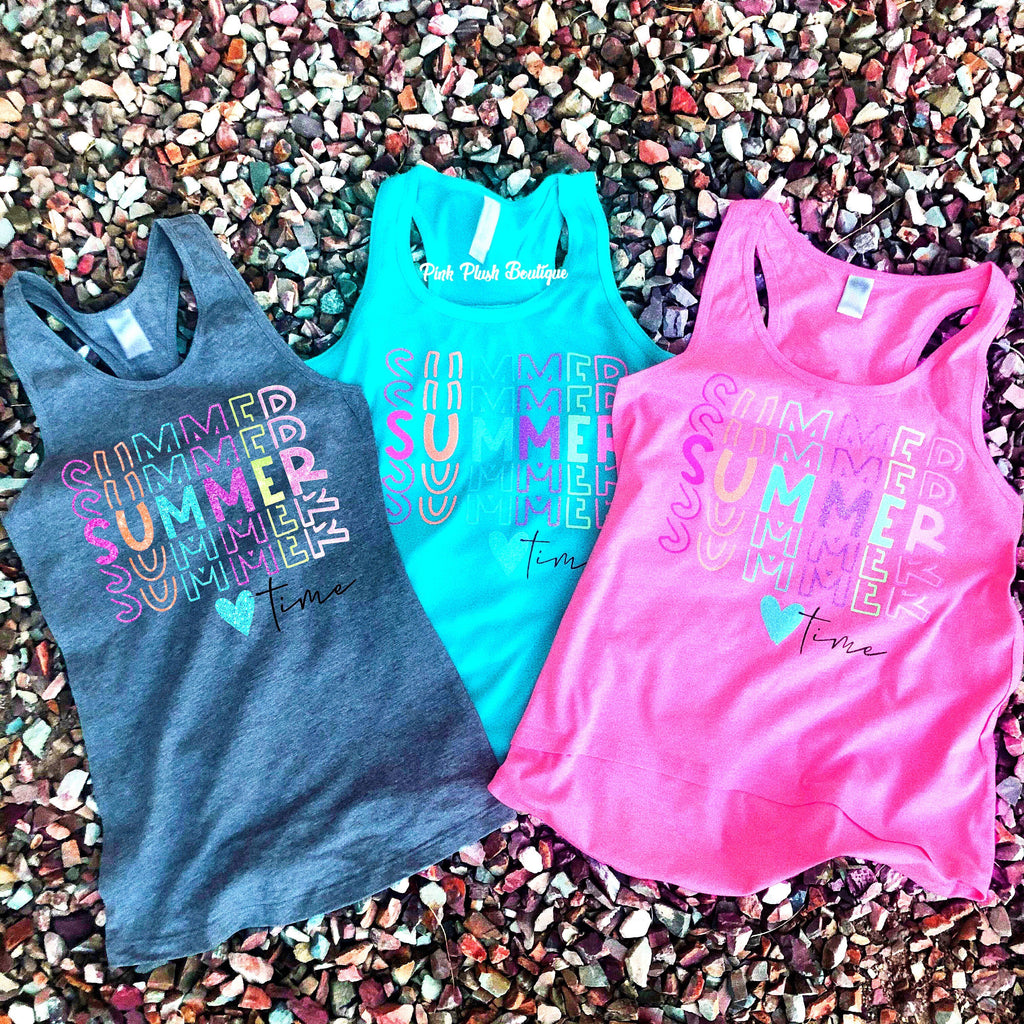 """Summer, Summer, Summer Time"" Racerback Sparkle Tank  - Kids/ Adult"