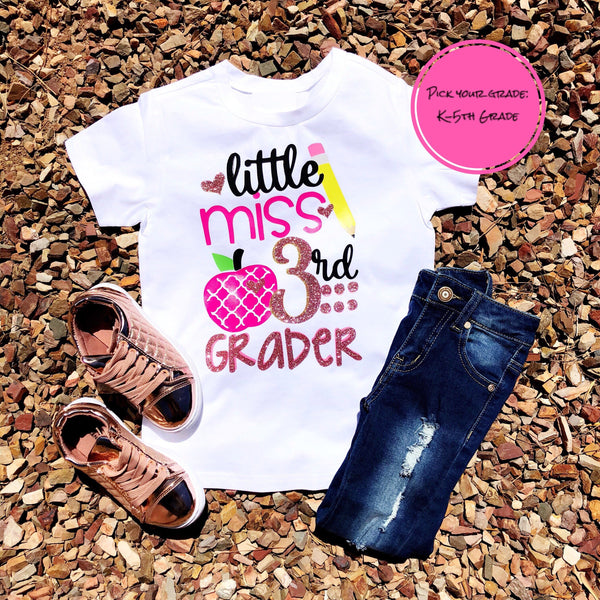 """Little Miss...... Grader"" (K-5th Grade) Sparkle Tshirt"