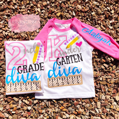 """School Diva"" (Pre-K-6) Personalized 3/4 Sleeve Raglan"