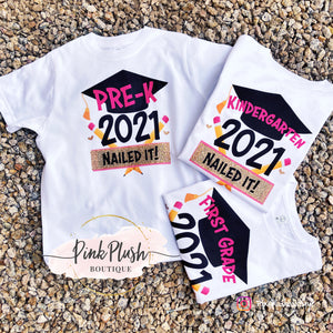 "Load image into Gallery viewer, ""2021 - Nailed IT!"" Grad T-shirt (KG - 5th Grade)"