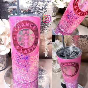 "Load image into Gallery viewer, ""I DANCE A LATTE"" Custom Glitter Tumbler"