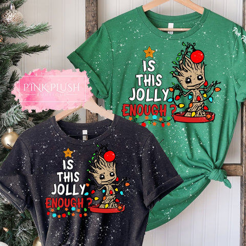 """Is This Jolly Enough?"" Christmas Bleached Tshirt"
