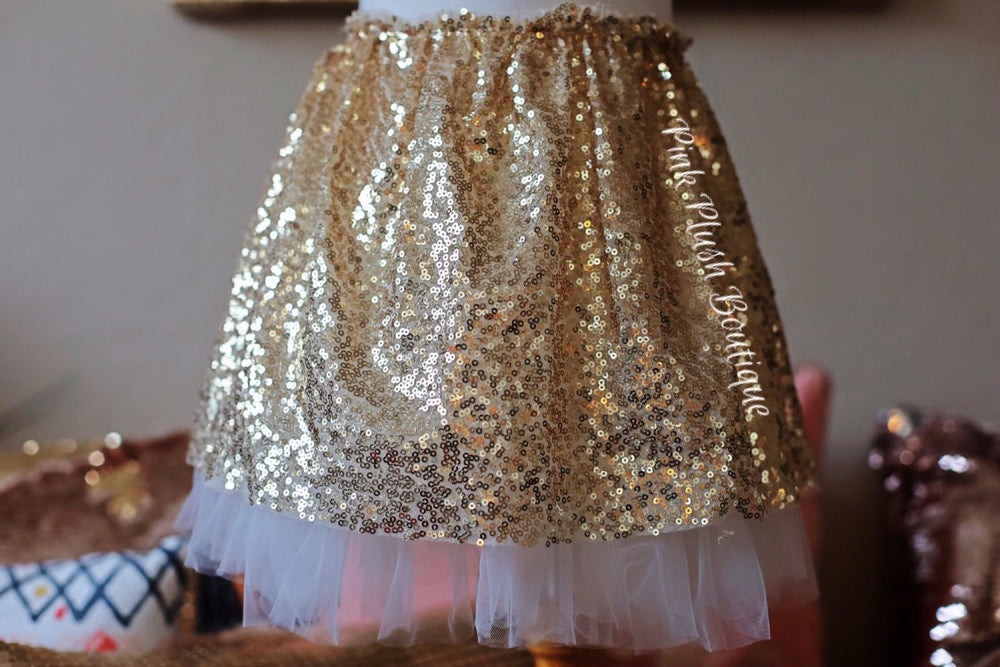 """Kate"" Gold Sparkle Skirt - Pink Plush Boutique"