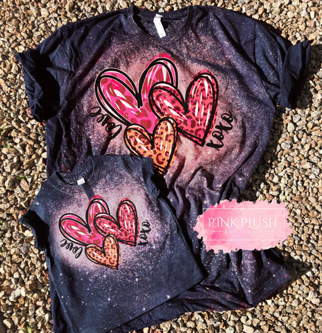 """Love+XOXO Hearts"" Bleached Mother + Daughter Tshirt"