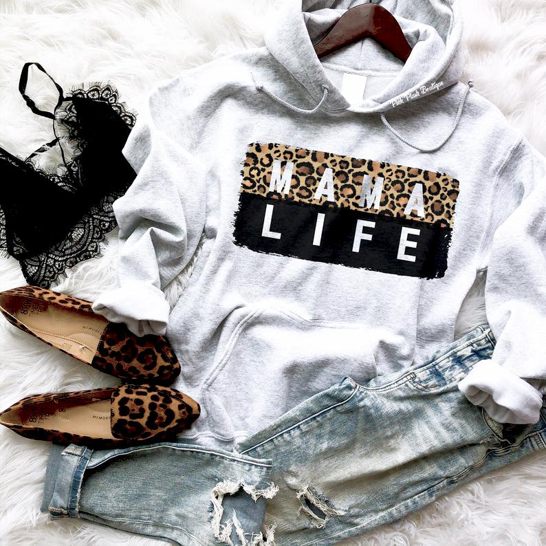 """MAMA LIFE"" LEOPARD Hooded Sweatshirt - Pink Plush Boutique"