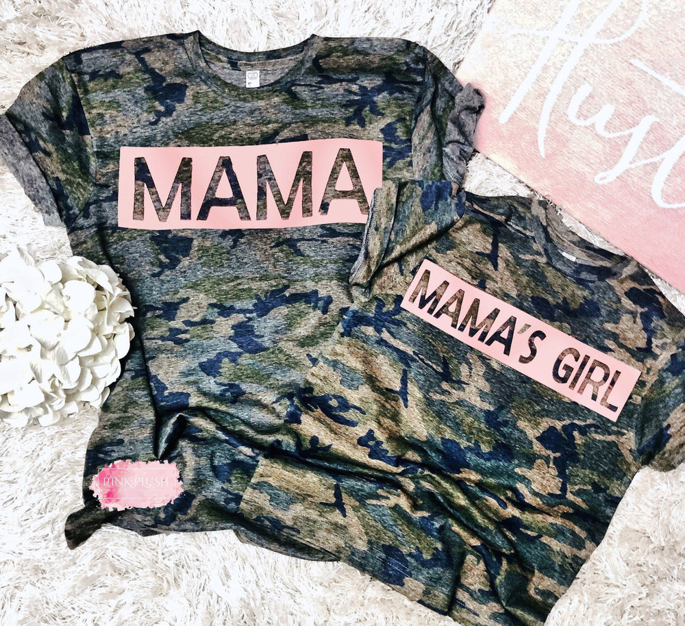 "MAMA + Mama's Girl"" Camo Tshirt - Pink Plush Boutique"