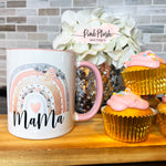 """MAMA"" Watercolor Rainbow Coffee Mug"