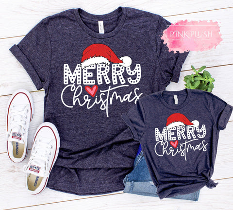 """Merry Christmas Dots"" Tshirt - Short or Long Sleeve"
