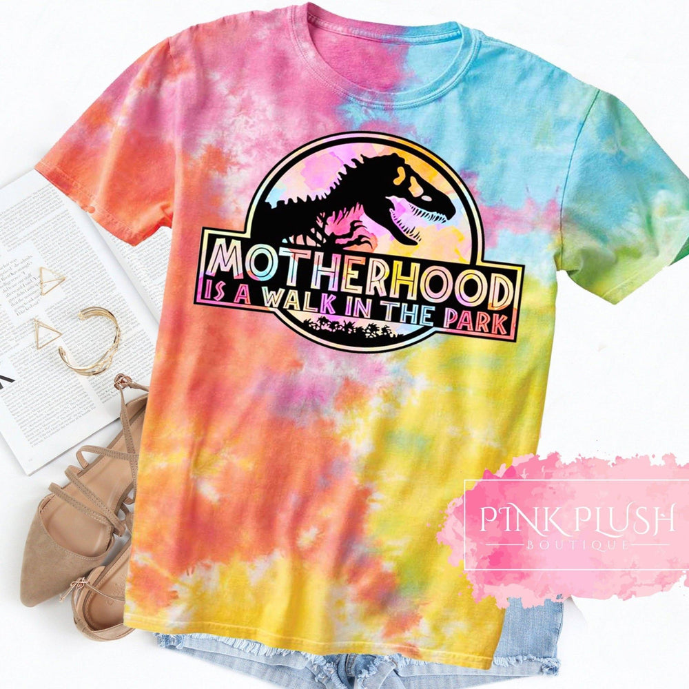 """Motherhood.... A walk in the Park"" Tye-Dye Tshirt - Pink Plush Boutique"