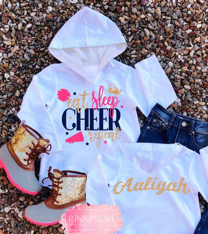 """EAT. SLEEP. CHEER."" Personalized Hooded Tshirt"
