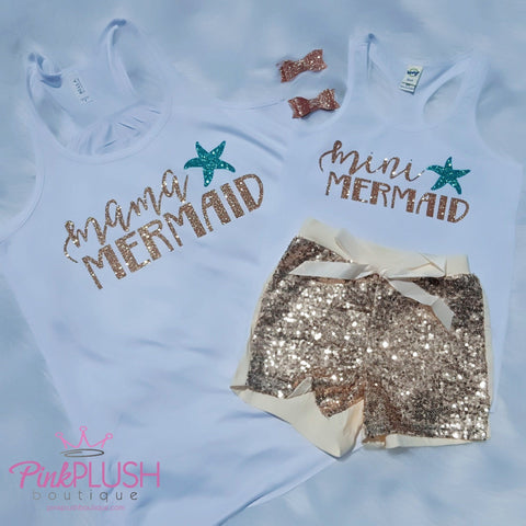 """Mama / Mini Mermaid"" Tanks - Pink Plush Boutique"